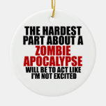 Apocalipsis del zombi adorno redondo de cerámica