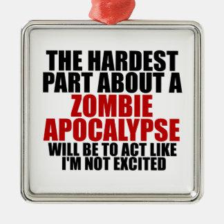 Apocalipsis del zombi adorno cuadrado plateado