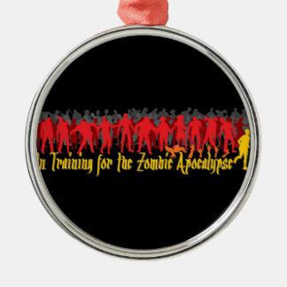 Apocalipsis del zombi adorno redondo plateado