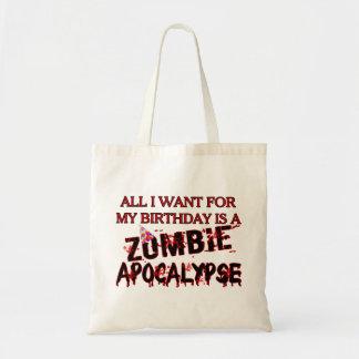 Apocalipsis del zombi del cumpleaños bolsa tela barata