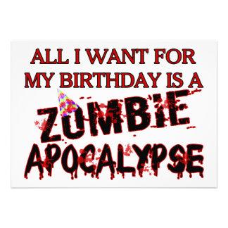 Apocalipsis del zombi del cumpleaños anuncios personalizados
