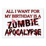 Apocalipsis del zombi del cumpleaños invitación 12,7 x 17,8 cm