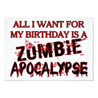 """Apocalipsis del zombi del cumpleaños invitación 5"""" x 7"""""""