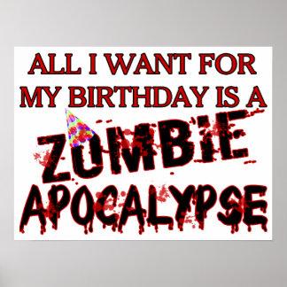 Apocalipsis del zombi del cumpleaños posters