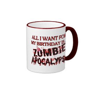 Apocalipsis del zombi del cumpleaños taza de dos colores