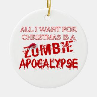 Apocalipsis del zombi del navidad adorno redondo de cerámica