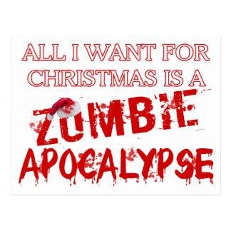 Apocalipsis del zombi del navidad postales
