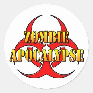 Apocalipsis del zombi pegatina redonda