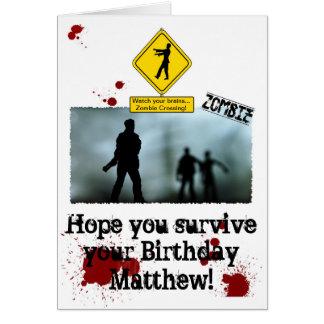 Apocalipsis del zombi - tarjeta de cumpleaños dive