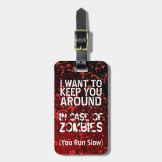 Apocalipsis divertida de los zombis usted corre le etiqueta de maleta