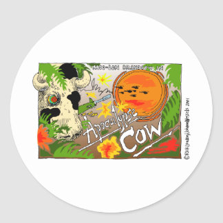 Apocalypse Cow Funny Gifts Tees Cards Etc. Round Sticker