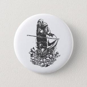 Apocalypse grim reaper black and white button