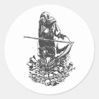 Apocalypse grim reaper black and white classic round sticker