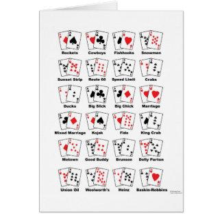 Apodos de la mano de póker tarjeta de felicitación
