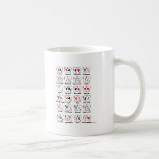 Apodos de la mano de póker taza básica blanca