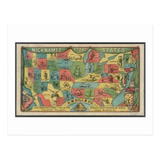 Apodos de los estados - el vintage los E E U U Postales