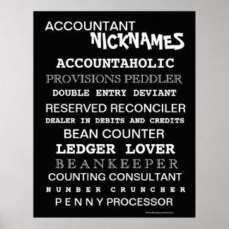 Apodos divertidos del contable y cargos tontos poster