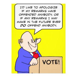 apoligize al político ofendido flyer a todo color