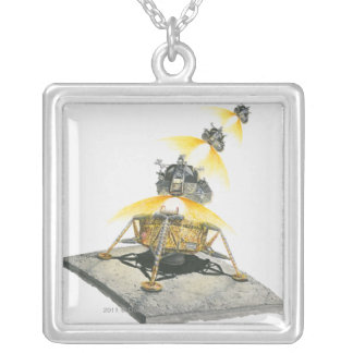 Apollo 11 Eagle module taking off from the Moon Square Pendant Necklace