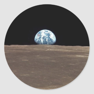 APOLLO 11 EARTHRISE (earth moon solar system) ~ Classic Round Sticker