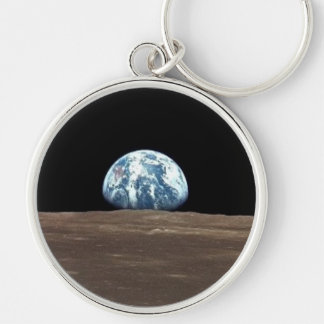 APOLLO 11 EARTHRISE (earth moon solar system) Silver-Colored Round Keychain