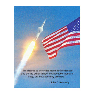 Apollo 11 launch with American Flag Canvas Print