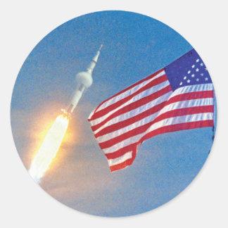Apollo 11 launch with American Flag Classic Round Sticker