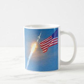 Apollo 11 launch with American Flag Coffee Mug