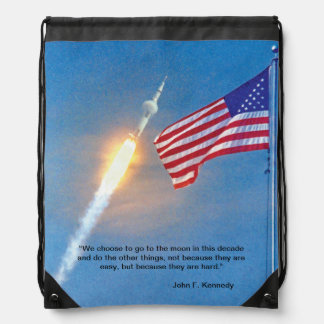 Apollo 11 launch with American Flag Drawstring Backpack