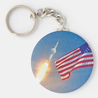 Apollo 11 launch with American Flag Keychain