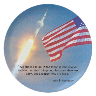 Apollo 11 launch with American Flag Melamine Plate