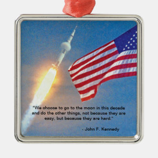 Apollo 11 launch with American Flag Metal Ornament