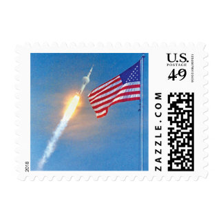 Apollo 11 launch with American Flag Postage