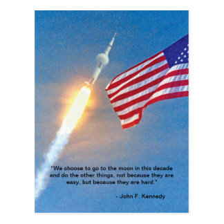 Apollo 11 launch with American Flag Postcard