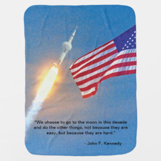 Apollo 11 launch with American Flag Receiving Blanket