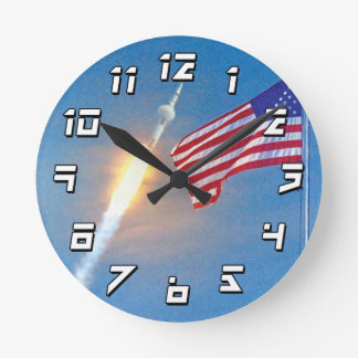 Apollo 11 launch with American Flag Round Clock