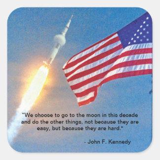Apollo 11 launch with American Flag Square Sticker