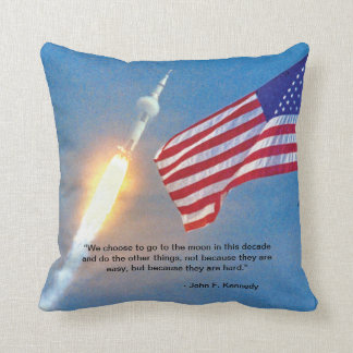 Apollo 11 launch with American Flag Throw Pillow