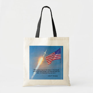 Apollo 11 launch with American Flag Tote Bag