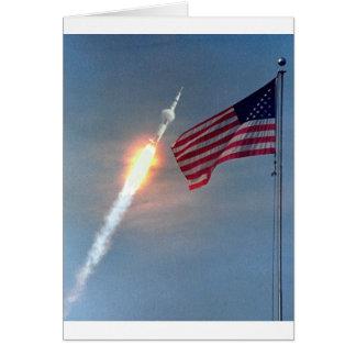 Apollo 11 launch, with flag, NASA Cards