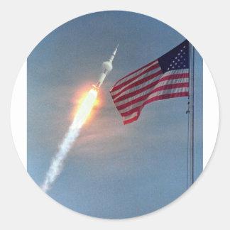 Apollo 11 launch, with flag, NASA Classic Round Sticker