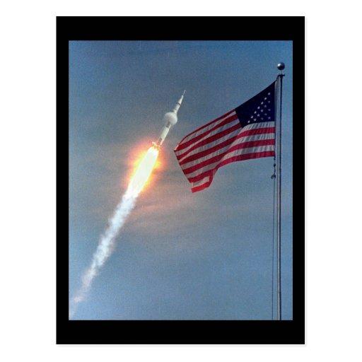 Apollo 11 launch, with flag, NASA Postcards