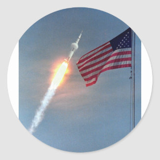 Apollo 11 launch, with flag, NASA Sticker