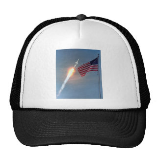 Apollo 11 launch, with flag, NASA Trucker Hat