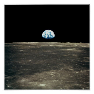 Apollo 11 Photo of Earth Rising Above the Moon Poster