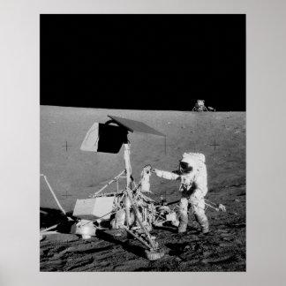 Apollo 12 Astronaut & Lunar Module on the Moon Poster
