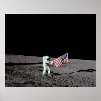 Apollo 12 Astronaut on the Moon Poster