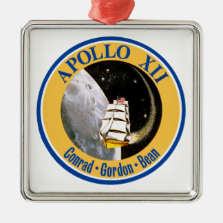Apollo 12: Back to the Moon! Square Metal Christmas Ornament