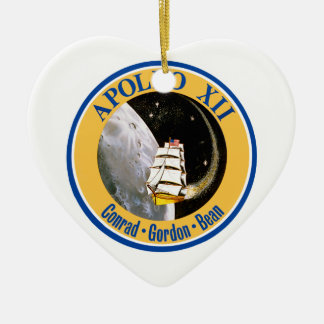 Apollo 12: Back to the Moon! Double-Sided Heart Ceramic Christmas Ornament