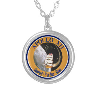 Apollo 12 Mission Patch Logo Silver Plated Necklace